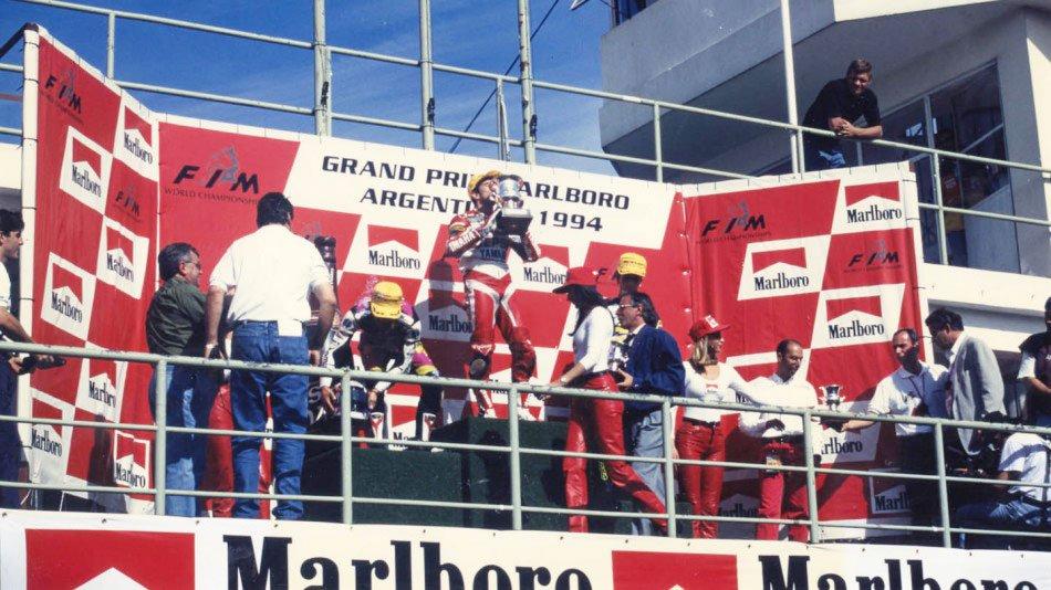 """""""Aspar"""" en el podio del GP de Argentina en 1994"""